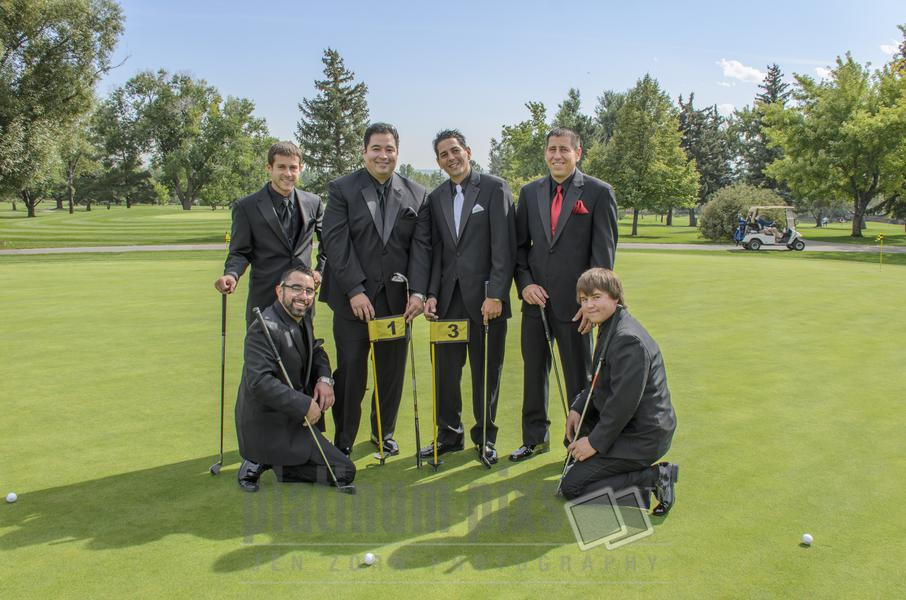 Groomsmen Posing on Putting Green