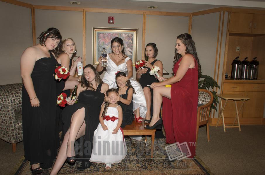 Bridal Party Goofing Off