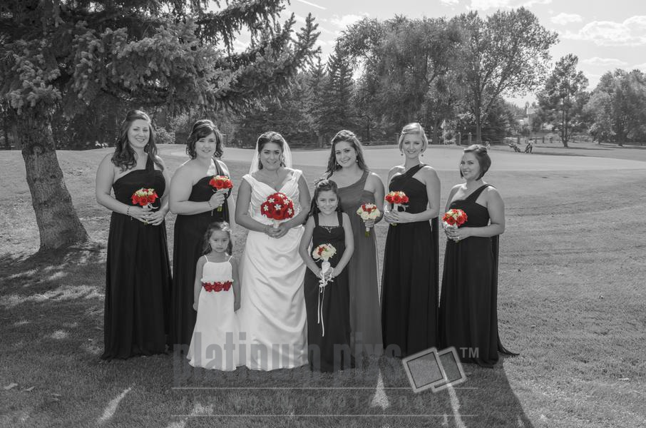 Bridal Party all with Flowers